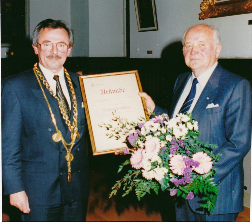 Verleihung der Ehrenbürgerwürde an Altbürgermeister Baptist Hempfling